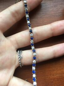 Gold plated bracelet blue sapphire and crystal