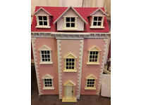 LARGE DOLLS HOUSE WITH FURNITURE FOR SALE