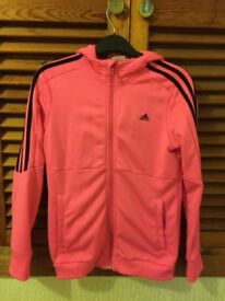 Adidas pink zip up jacket/hoodie size S 11-12yrs