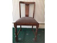 Dining Chairs 1930s Chunky Art Deco Style Solid Wood Set of 4 Dining Chairs with Barley Twist Legs