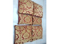 Cushions covers, square, Gold and burnt orange damask, zipped, good condition
