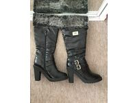 High black boots with heel size 5