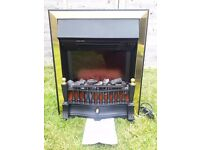 Electric fire, black, brass surround, flame / coal effect