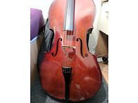 4/4 Stringers student cello outfit with Pirastro Strings installed and receipts