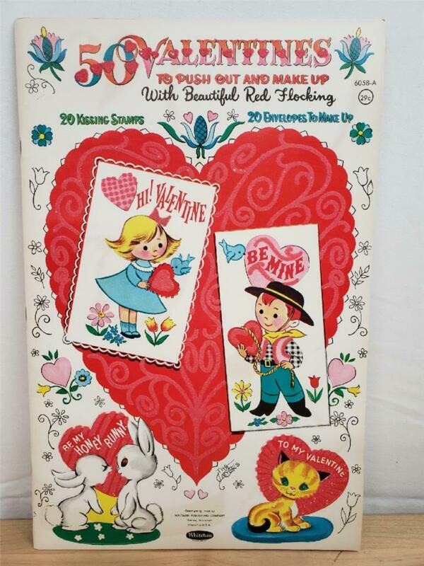 Vintage 1960 UNCUT Unused Flocked 50 Valentine Punch Out Book NOS
