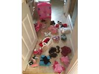 Huge bundle of build a bear clothes, accessories, shoes and a wardrobe and chair