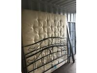 Super King Size Metal Iron Bed & Mattress, Excellent Clean