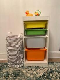 Ikea Storage Combination Shelf With Colourful Boxes 46x30x94cm