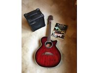 Crafter Acoustic Guitar With Amplifier and music book