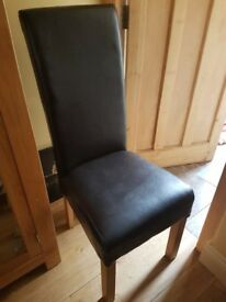 3 x Dark Brown Leather Dining Chairs