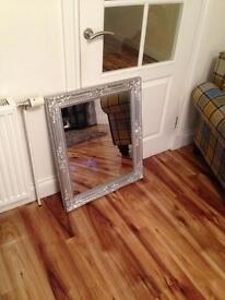 Large silver chunky mirror
