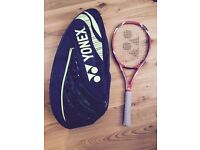 Yonex VCore Tour 97 tennis racket and 3 racket bag