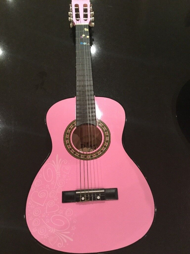 "Classical guitar 1/2 size (34"") in Pink for girls and case included"