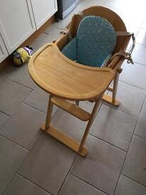 Wooden high chair and seat insert