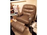 Large reclining leather brown/grey armchair