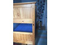 Solid Pine single bunk beds with mattresses