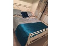 Beautiful white frame double bed + mattress for sale