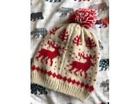 Cream & Red Reindeer Knitted Bobble Hat Christmas