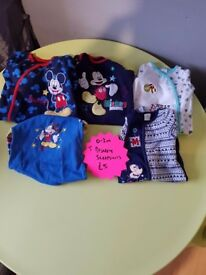 Boys 0-3 months disney sleepsuits
