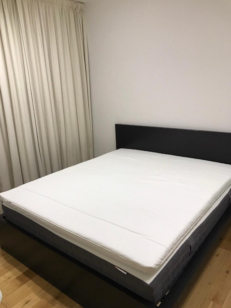 ikea malm super king bed frame with mattress and memory foam topper - Ikea King Bed Frames