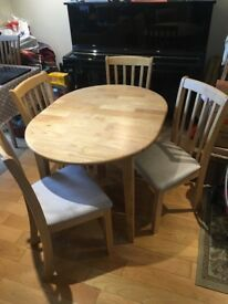 Solid wood extendable table and 4 chairs