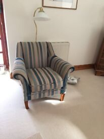 Laura Ashley Teal and Cream striped armchair