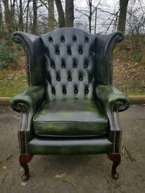 Chesterfield genuine leather queen Anne wingback chair EXCELLENT CONDITION BARGAIN!
