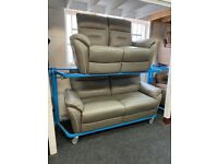 NEW EX DISPLAY LAZYBOY LAWRENCE GREY LEATHER 3 + 2 SEATER ELECTRIC RECLINER SOFAS 70%Off RRP SALE