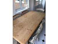 Farmhouse solid wood extending dining table with 6 chairs