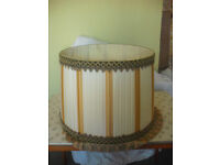Large Vintage Off White Pleated Silk Lampshade.