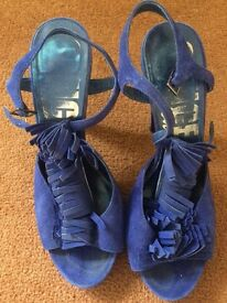 Bright blue Office suede sandals, size 38/5