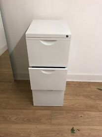 3 draw filing cabinet in white