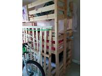 Kids triple bunk bed with 1 new mattress