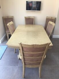 A STUNNING DINING ROOM SUITE IN EXCELLENT PRELOVED CONDITION INCLUDES 6 HIGH BACK CHAIRS, DELIVERY