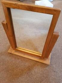 Oak mirror for dressing table