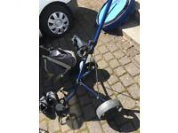 Golf clubs, 3 woods, ram pitching wedge, fairway iron, bag, trolley and shoes