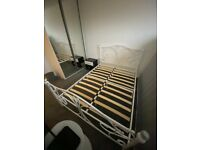 Double Bed White Metal Framed