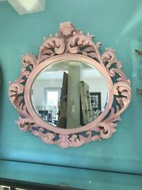 Pink baroque bevelled mirror (new)