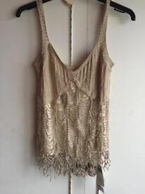 ***BRAND NEW***NEXT GOLD HAND CROCHETED TOP-size 8