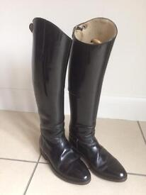 Equestrian: Quality Hand Made Dressage Boots Size 6. Narrow Calf.
