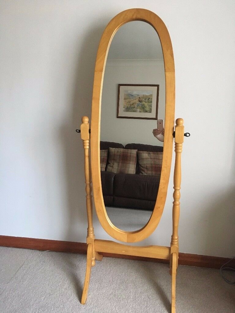 Free Standing Solid Pine Oval Cheval Mirror In Perth