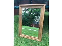 Thick pine framed mirror