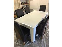 High Gloss Finish Dining Table and 6 Chairs