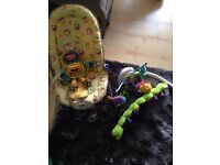 Baby bouncer and cot mobile and soft toys