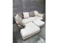 Fabric corona sofa with chair and puff
