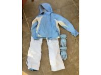 Women's blue ski jacket (M), salopettes (14-16) gloves, hat,
