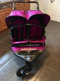 Out and About Nipper 360 V4 Purple Double Buggy