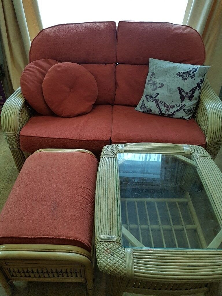 Free To Give Away Two Seater Wicker Sofa Footstool And Coffee Table In Used Condition