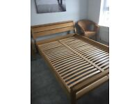 Double bed solid oak very sturdy excellent condition free bedside table