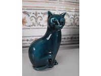 Poole Pottery seated cat in dolphin blue